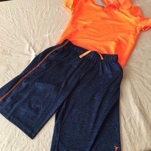 Dark blue and orange active shorts